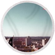 Vintage View Of The Texas And Usa Flags Flying On Top Of Texas State Capitol Round Beach Towel