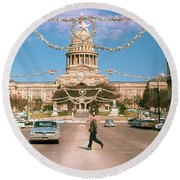 Vintage View Of The Texas State Capitol And Christmas Decorations Strung Along Congress Avenue From December 1960 Round Beach Towel