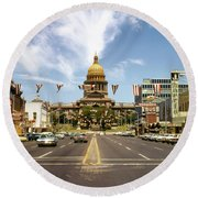 Vintage View Of The Texas State Capitol And Downtown Austin From September 1968 Round Beach Towel