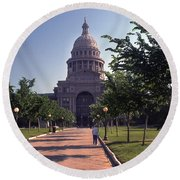 Vintage View Of The Texas State Capitol In Downtown Austin, Texas Round Beach Towel