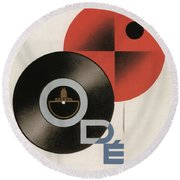Vintage Vinyl Records Art Deco Round Beach Towel