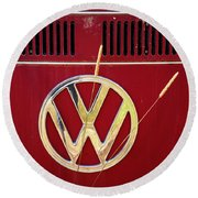Vintage Vw Bus Logo Round Beach Towel