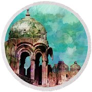 Vintage Watercolor Gazebo Ornate Palace Mehrangarh Fort India Rajasthan 2a Round Beach Towel