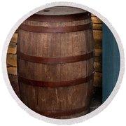 Vintage Wine Barrel Round Beach Towel