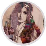 Vintage Woman Built By New York City 2 Round Beach Towel