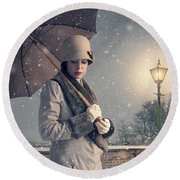 Vintage Woman With Coat Hat And Umbrella Outside In Snow Round Beach Towel