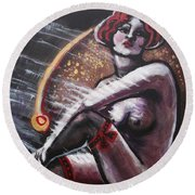 Vintage Years - Black Stockings Round Beach Towel