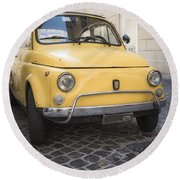 Vintage Yellow Fiat 500 In Rome Round Beach Towel