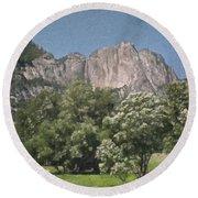 Vintage Yosemite Round Beach Towel