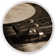 Vinyl Record Playing On A Turntable In Sepia Round Beach Towel
