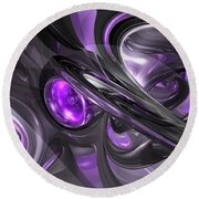 Violaceous Abstract  Round Beach Towel