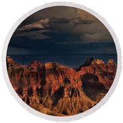 Violent Storm Over The North Rim Grand Canyon National Park Arizona Round Beach Towel