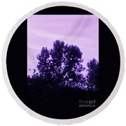 Violet And Black Trees  Round Beach Towel