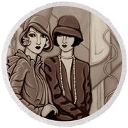 Violet And Rose In Sepia Tone Round Beach Towel