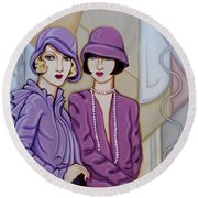 Violet And Rose Round Beach Towel