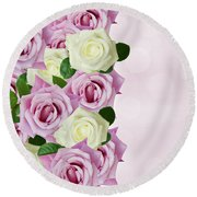 Violet  And White Roses Round Beach Towel