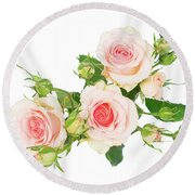 Garden Roses And Buds Round Beach Towel
