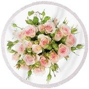 Bouquet Of Garden Roses Round Beach Towel