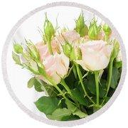 Garden Roses Bouquet Round Beach Towel