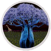 Violet Blue Baobab Round Beach Towel