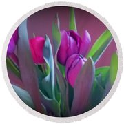 Violet Colored Tulips Round Beach Towel
