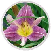 Violet Day Lily Round Beach Towel