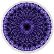 Violet Digital Mandala Round Beach Towel