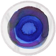 Violet Drops 1- Art By Linda Woods Round Beach Towel