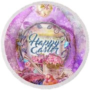 Violet Easter Round Beach Towel