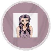 Violet Femme Round Beach Towel