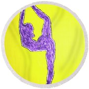 Violet Nude Yoga Girl Round Beach Towel