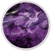 Violet Rhapsody- Art By Linda Woods Round Beach Towel