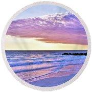 Violet Skies At Nighfall Round Beach Towel