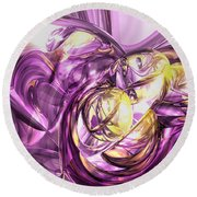 Violet Summer Abstract Round Beach Towel