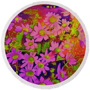Violets Among The Heather Round Beach Towel