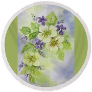 Violets And Wild Roses Round Beach Towel