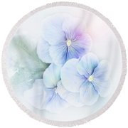 Violets Flowers Watercolor Round Beach Towel