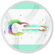 Violin Digital Art Water Color Round Beach Towel