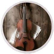 Violin Round Beach Towel by Garry Gay