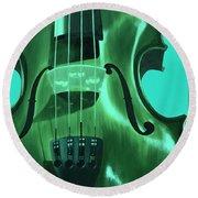 Violin In Green Round Beach Towel