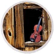 Violin In Window Round Beach Towel