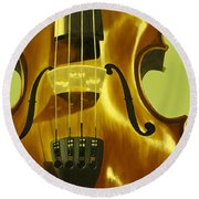 Violin In Yellow Round Beach Towel