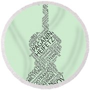 Violin Of Fame Round Beach Towel