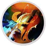 Violin Painting Art 51 Round Beach Towel