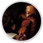 Violin Player 1653 Round Beach Towel