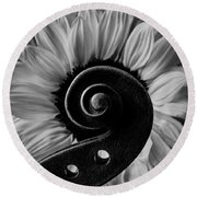 Violin Scroll And Sunflower In Black And White Round Beach Towel