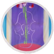 Violin Vase Round Beach Towel