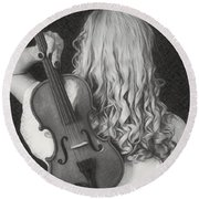 Violin Woman - Id 16218-130643-9888 Round Beach Towel