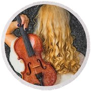 Violin Woman - Id 16218-130709-0128 Round Beach Towel