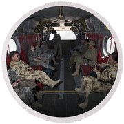 Vips In A Ch-47 Chinook Helicopter Round Beach Towel
